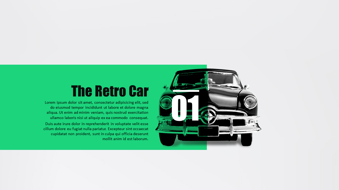 Car modeling presentation template for powerpoint and keynote.