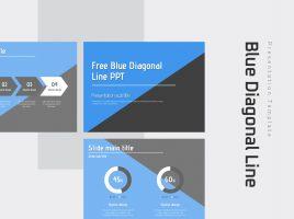 Free Blue Diagonal Line PPT