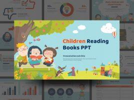 Children Reading Books PPT Wide