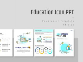 Education Icon Vertical PPT Template