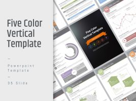 Five Color Powerpoint Template Vertical
