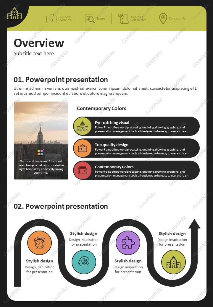 Color Theme Powerpoint Template Strategy Vertical Goodpello