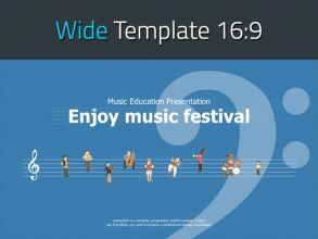 귀여운 오케스트라 일러스트 와이드 템플릿